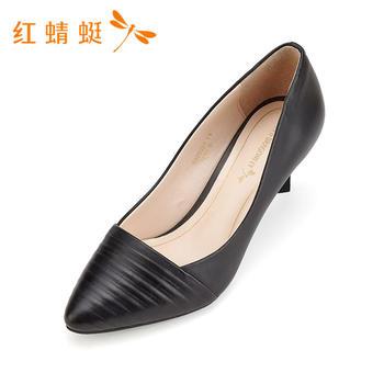 红蜻蜓春季新款时尚百搭细高跟单鞋女B80036