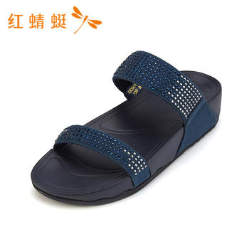红蜻蜓女鞋水钻松糕底舒适中跟拖鞋女K80906