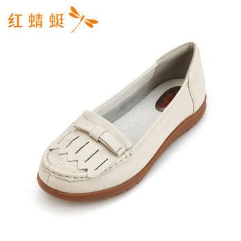 红蜻蜓新款女鞋圆头时尚百搭休闲舒适牛皮单B808710