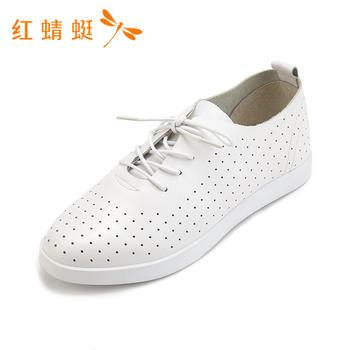 红蜻蜓新款女鞋系带镂空简约透气女单鞋B86006
