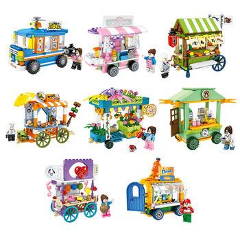 森宝积木步行街系列小吃摊贩卖车带公仔小人