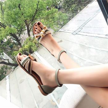 2019夏季韩版凉鞋女蝴蝶结仙女鞋露趾百搭?#25351;?#32599;马鞋