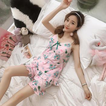 纪妍薇 性感女睡衣吊带裙套装胸垫大码家居服两件套