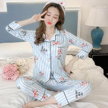 纪妍薇 夏季棉质女睡衣套装长袖长裤开衫家居服两件