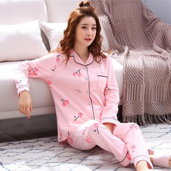 纪妍薇 韩版牛奶丝女睡衣套装舒适开衫家居服两件套