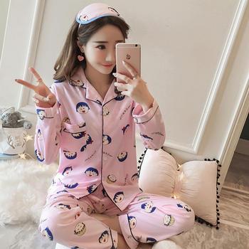 纪妍薇 韩版女睡衣套装牛奶丝长袖开衫家居服两件套