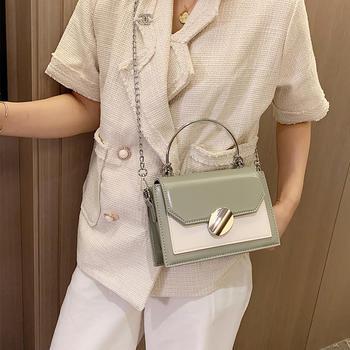 雅诗罗韩版新款撞色女包手提包包小方包时尚单肩包