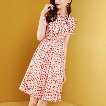 卓图女装时尚波点衬衫高腰气质连衣裙