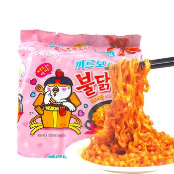 韩国进口粉红包装三养奶油味拌面130g*5连包超辣火鸡面