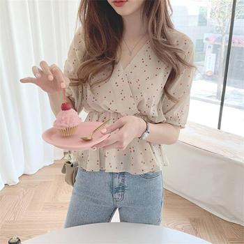 衬衫女设计感小众复古心机韩版收腰甜美短袖雪纺上衣