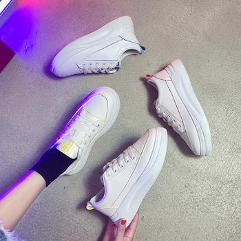 蝶恋霏时尚潮流厚底百搭拼色细带小白鞋