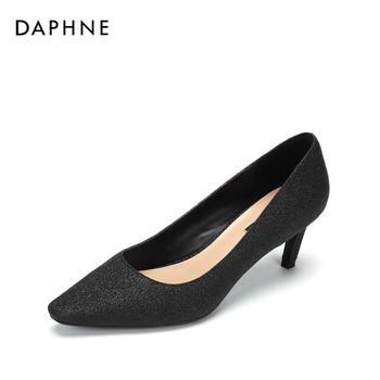 Daphne/达芙妮时尚方头浅口单鞋高跟鞋1018404042