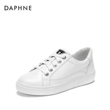 Daphne/达芙妮简约系带板鞋休闲圆头小白鞋女1018404062
