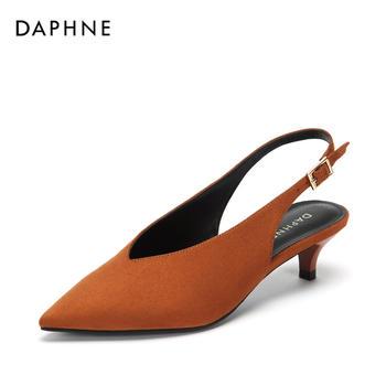 Daphne/达芙妮尖头复古绒面猫细跟单鞋女1018402011