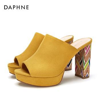 Daphne/达芙妮绒面鱼鞋防水台超高跟女鞋1018303014