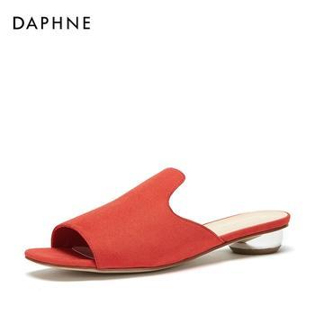 Daphne/达芙妮套脚穆勒鞋简约纯色舒适拖鞋1018303034