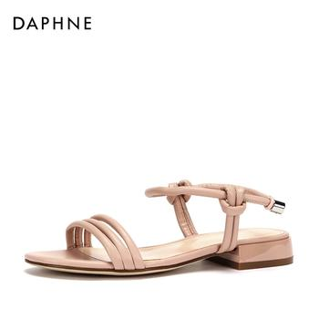 Daphne/达芙妮细带拼接纯色时尚平底凉鞋女1018303048