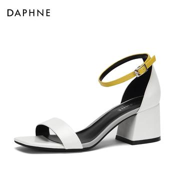Daphne/达芙妮一字带通勤舒适粗跟凉鞋女1018303020