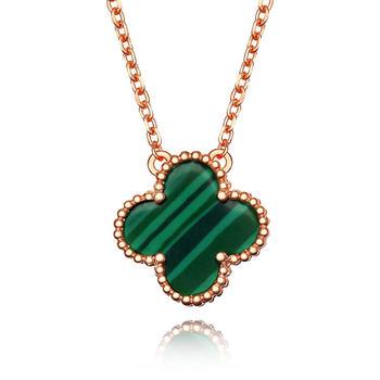 今上珠宝 925银四叶草项链 玫瑰金色 多款式可选