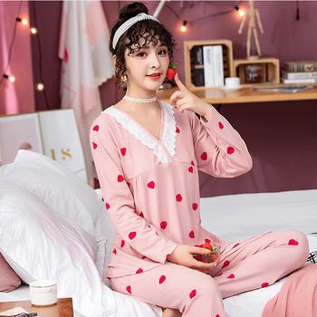 纪妍薇 韩版女睡衣套装长袖长裤卡通草莓家居服春秋
