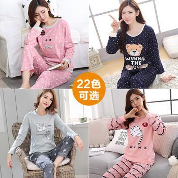 纪妍薇 春秋少女睡衣套装棉质卡通长袖家居服外穿22色