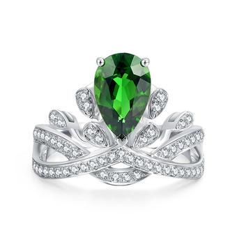 今上珠宝 18K金钻石碧玺戒指 白金色 皇冠戒指
