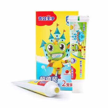 青蛙王子儿童护龈防蛀牙膏2支装赠牙刷宝宝牙膏