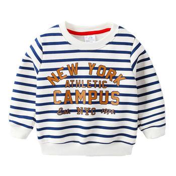 贝壳元素字母卫衣秋装男童童装条纹长袖上衣wt9557