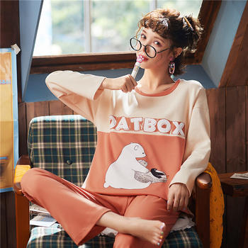 韩版 棉质女士睡衣套装长袖长裤秋冬季家居服可外穿