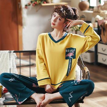 韩版 棉质女睡衣套装卡通火烈鸟长袖家居服秋冬外穿