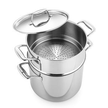 多样屋 传家24cm三层钢不锈钢双耳锅蒸汤锅