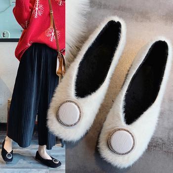 蝶恋霏冬季新款时尚百搭韩版浅口毛毛鞋舒适平底单鞋