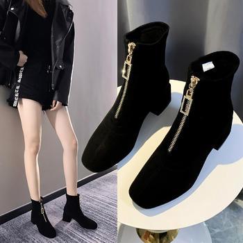 Tatyana网红粗跟前拉链短靴女秋季新款马丁靴