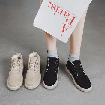 蝶恋霏冬季新款时尚百搭经典马丁靴系带短靴