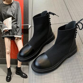蝶恋霏冬季新款韩版弹力布拼接时尚舒适平底短靴