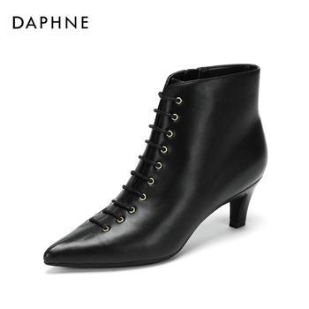 Daphne/达芙妮细跟系带尖头裸靴小猫跟低跟女鞋1018605008