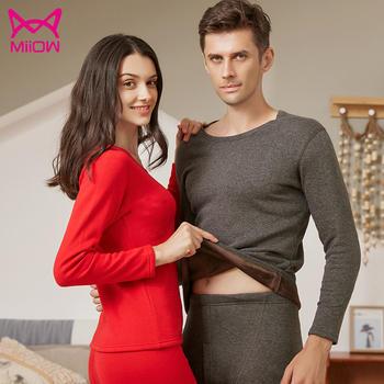 猫人保暖内衣情侣款圆领棉柔倍暖加绒加厚保暖套装