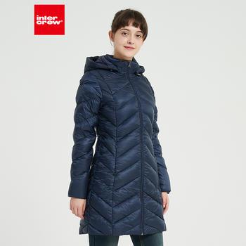 韩版时尚简约修身显瘦中长款连帽鹅绒服女