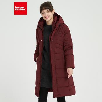 韩版简约修身显瘦加厚葡萄红色连帽中长款羽绒服外套