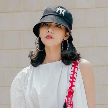 MLB棒球帽玫瑰英文刺绣户外防晒渔夫帽封口帽
