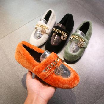 毛毛鞋韩版方头加绒棉瓢鞋豆豆鞋平底鞋懒人网红女鞋