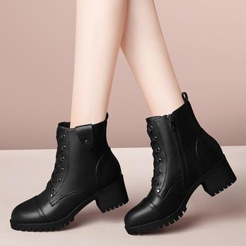 短靴马丁靴新款冬季软底高帮皮鞋
