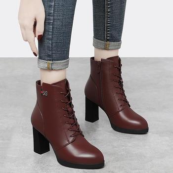 高跟短靴女粗跟女靴子厚底马丁靴