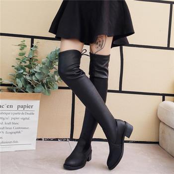 过膝靴女长靴优质软皮平底长筒靴秋冬季新款绒面女鞋