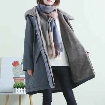 韩版加厚棉衣女中长款加绒连帽派克棉服大码大衣外套