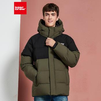 冬季新款韩版潮流时尚拼接连帽加厚外套棉袄面包服男