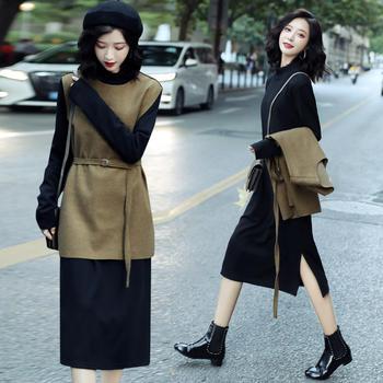 HYLS 显瘦洋气流行时尚减龄连衣裙套装