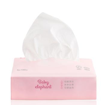 红色小象亲肤保湿面纸100P*6 干湿柔巾手帕纸巾