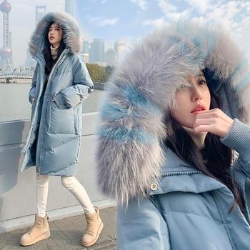羽绒服女中长款韩版修身加厚大码白鸭绒大毛领外套潮