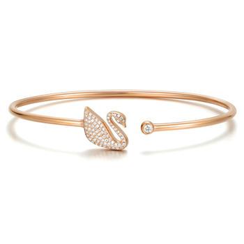 阿梵尼  18K玫瑰金钻石手镯女 开口天鹅手镯手链
